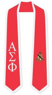 DISCOUNT-Alpha Sigma Phi Greek 2 Tone Lettered Graduation Sash Stole