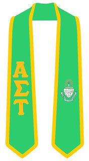 DISCOUNT-Alpha Sigma Tau Greek 2 Tone Lettered Graduation Sash Stole