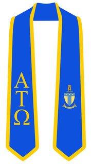 DISCOUNT-Alpha Tau Omega Greek 2 Tone Lettered Graduation Sash Stole