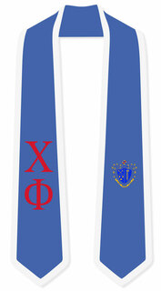 DISCOUNT-Chi Phi Greek 2 Tone Lettered Graduation Sash Stole