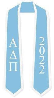 DISCOUNT-Alpha Delta Pi Greek 2 Tone Lettered Graduation Sash Stole w/ Year