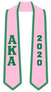 DISCOUNT-Alpha Kappa Alpha Greek 2 Tone Lettered Graduation Sash Stole w/ Year
