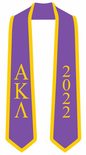 DISCOUNT-Alpha Kappa Lambda Greek 2 Tone Lettered Graduation Sash Stole w/ Year