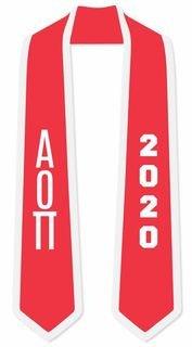 DISCOUNT-Alpha Omicron Pi Greek 2 Tone Lettered Graduation Sash Stole w/ Year