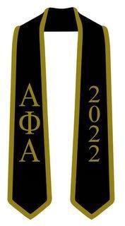 DISCOUNT-Alpha Phi Alpha Greek 2 Tone Lettered Graduation Sash Stole w/ Year