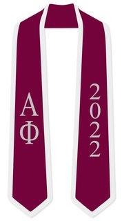 DISCOUNT-Alpha Phi Greek 2 Tone Lettered Graduation Sash Stole w/ Year
