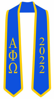 DISCOUNT-Alpha Phi Omega Greek 2 Tone Lettered Graduation Sash Stole w/ Year