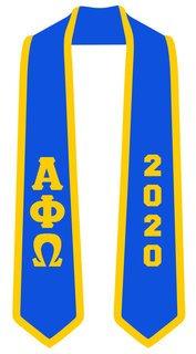 DISCOUNT-Alpha Phi Omega Greek 2 Tone Lettered Graduation Sash Stole w/ Year