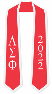 DISCOUNT-Alpha Sigma Phi Greek 2 Tone Lettered Graduation Sash Stole w/ Year