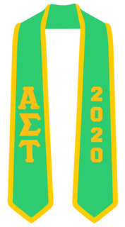 DISCOUNT-Alpha Sigma Tau Greek 2 Tone Lettered Graduation Sash Stole w/ Year