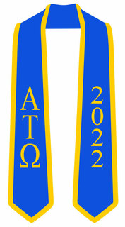 DISCOUNT-Alpha Tau Omega Greek 2 Tone Lettered Graduation Sash Stole w/ Year