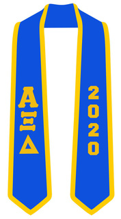 DISCOUNT-Alpha Xi Delta Greek 2 Tone Lettered Graduation Sash Stole w/ Year
