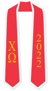 DISCOUNT-Chi Omega Greek 2 Tone Lettered Graduation Sash Stole w/ Year