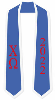DISCOUNT-Chi Phi Greek 2 Tone Lettered Graduation Sash Stole w/ Year
