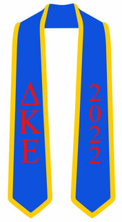DISCOUNT-Delta Kappa Epsilon Greek 2 Tone Lettered Graduation Sash Stole w/ Year