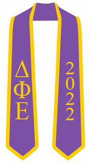 DISCOUNT-Delta Phi Epsilon Greek 2 Tone Lettered Graduation Sash Stole w/ Year