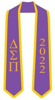 DISCOUNT-Delta Sigma Pi Greek 2 Tone Lettered Graduation Sash Stole w/ Year