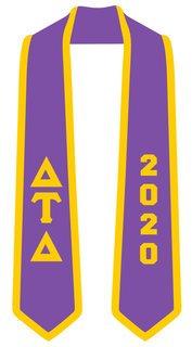DISCOUNT-Delta Tau Delta Greek 2 Tone Lettered Graduation Sash Stole w/ Year