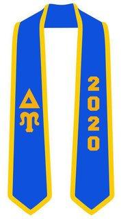 DISCOUNT-Delta Upsilon Greek 2 Tone Lettered Graduation Sash Stole w/ Year