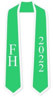 DISCOUNT-FARMHOUSE Greek 2 Tone Lettered Graduation Sash Stole w/ Year
