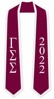 DISCOUNT-Gamma Sigma Sigma Greek 2 Tone Lettered Graduation Sash Stole w/ Year