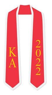 DISCOUNT-Kappa Alpha Greek 2 Tone Lettered Graduation Sash Stole w/ Year