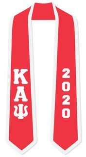 DISCOUNT-Kappa Alpha Psi Greek 2 Tone Lettered Graduation Sash Stole w/ Year