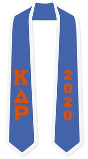 DISCOUNT-Kappa Delta Rho Greek 2 Tone Lettered Graduation Sash Stole w/ Year