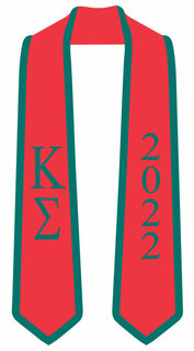 DISCOUNT-Kappa Sigma Greek 2 Tone Lettered Graduation Sash Stole w/ Year