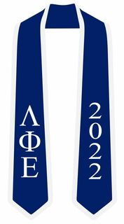 DISCOUNT-Lambda Phi Epsilon Greek 2 Tone Lettered Graduation Sash Stole w/ Year