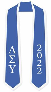 DISCOUNT-Lambda Sigma Upsilon Greek 2 Tone Lettered Graduation Sash Stole w/ Year