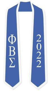 DISCOUNT-Phi Beta Sigma Greek 2 Tone Lettered Graduation Sash Stole w/ Year