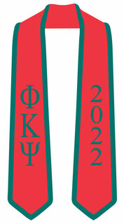 DISCOUNT-Phi Kappa Psi Greek 2 Tone Lettered Graduation Sash Stole w/ Year