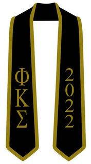 DISCOUNT-Phi Kappa Sigma Greek 2 Tone Lettered Graduation Sash Stole w/ Year