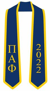 DISCOUNT-Pi Alpha Phi Greek 2 Tone Lettered Graduation Sash Stole w/ Year