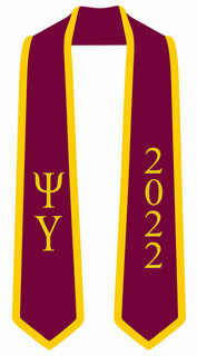 DISCOUNT-Psi Upsilon Greek 2 Tone Lettered Graduation Sash Stole w/ Year