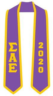 DISCOUNT-Sigma Alpha Epsilon Greek 2 Tone Lettered Graduation Sash Stole w/ Year