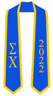 DISCOUNT-Sigma Chi Greek 2 Tone Lettered Graduation Sash Stole w/ Year