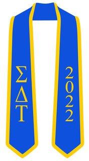 DISCOUNT-Sigma Delta Tau Greek 2 Tone Lettered Graduation Sash Stole w/ Year