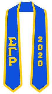 DISCOUNT-Sigma Gamma Rho Greek 2 Tone Lettered Graduation Sash Stole w/ Year