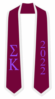 DISCOUNT-Sigma Kappa Greek 2 Tone Lettered Graduation Sash Stole w/ Year