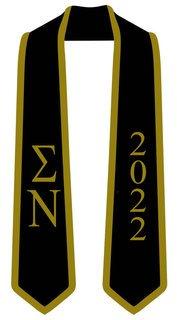 DISCOUNT-Sigma Nu Greek 2 Tone Lettered Graduation Sash Stole w/ Year