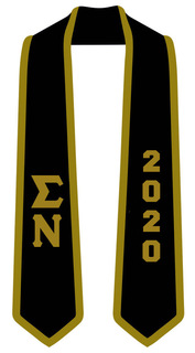 DISCOUNT-Sigma Nu Greek 2 Tone Lettered Graduation Sash Stole w/ Year