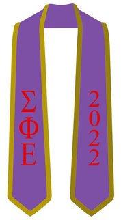 DISCOUNT-Sigma Phi Epsilon Greek 2 Tone Lettered Graduation Sash Stole w/ Year