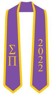 DISCOUNT-Sigma Pi Greek 2 Tone Lettered Graduation Sash Stole w/ Year