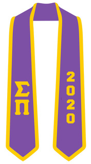 DISCOUNT-Sigma Pi Greek 2 Tone Lettered Graduation Sash Stole w/ Year