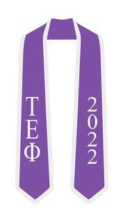 DISCOUNT-Tau Epsilon Phi Greek 2 Tone Lettered Graduation Sash Stole w/ Year