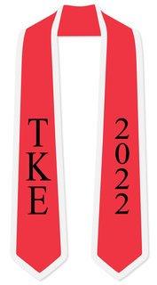 DISCOUNT-Tau Kappa Epsilon Greek 2 Tone Lettered Graduation Sash Stole w/ Year