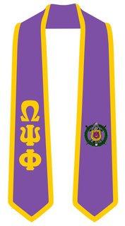 DISCOUNT-Omega Psi Phi Greek 2 Tone Lettered Graduation Sash Stole