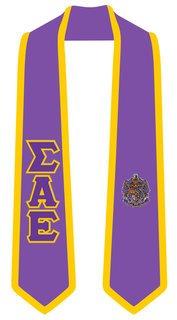 Sigma Alpha Epsilon Greek 2 Tone Lettered Graduation Sash Stole